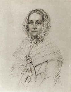 Malla Silfverstolpe, teckning av Maria Röhl, 1843