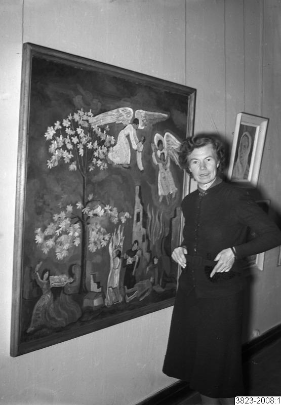 Esther Gehlin på Killbergs konstsalong. Fotograf: Lindberg,1945 (Kulturmagasinet, Helsingborgs museum)