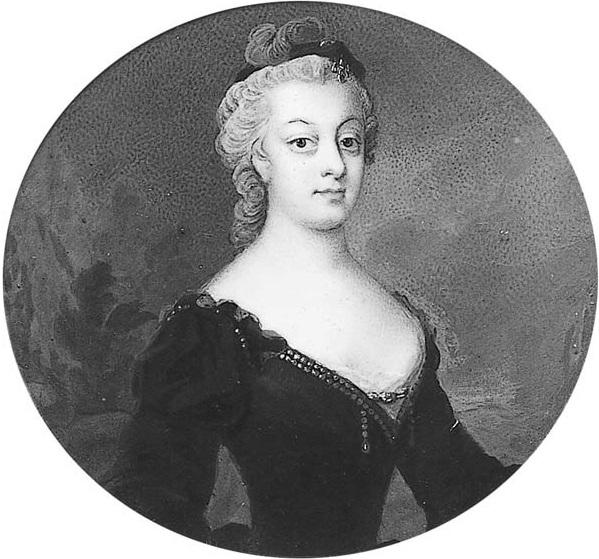 Miniatyr, Catharina Charlotta Taube (1723-1763), grevinna, g de la Gardie (Nationalmuseum)