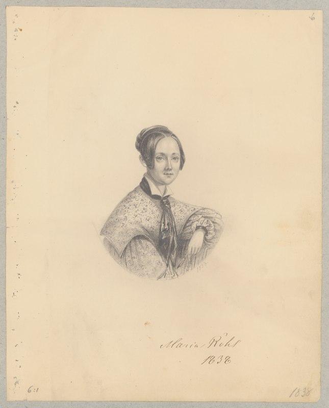 Maria Röhl, självporträtt 1838 (Kungliga biblioteket)
