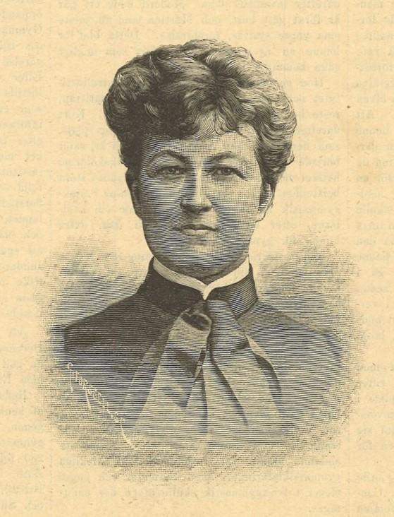 Martina Bergman-Österberg. Träsnitt av Gunnar Forssell i Idun nr 10, 1890 (KvinnSam, Göteborgs universitetsbibliotek)