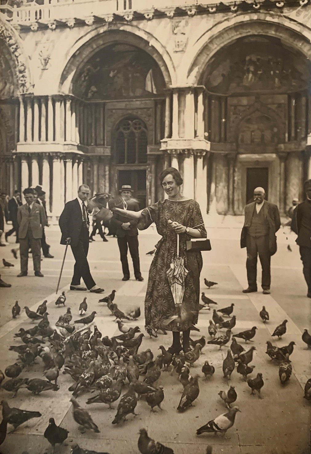 Ellen Börtz on Piazza San Marco in Venice, Italy, 1922. Photographer unknown, privately owned image