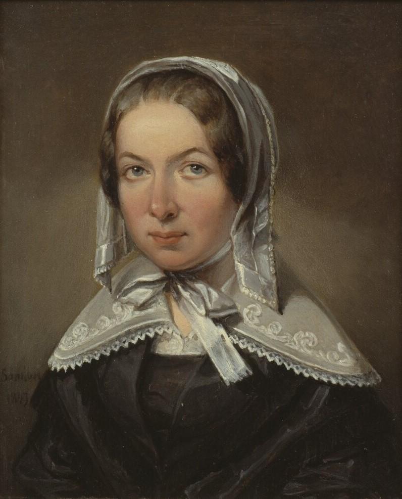 Fredrika Bremer. Portrait (oil on wood, 1843) by Johan Gustaf Sandberg (1782-1854). Nationalmuseum, NMGrh 1985