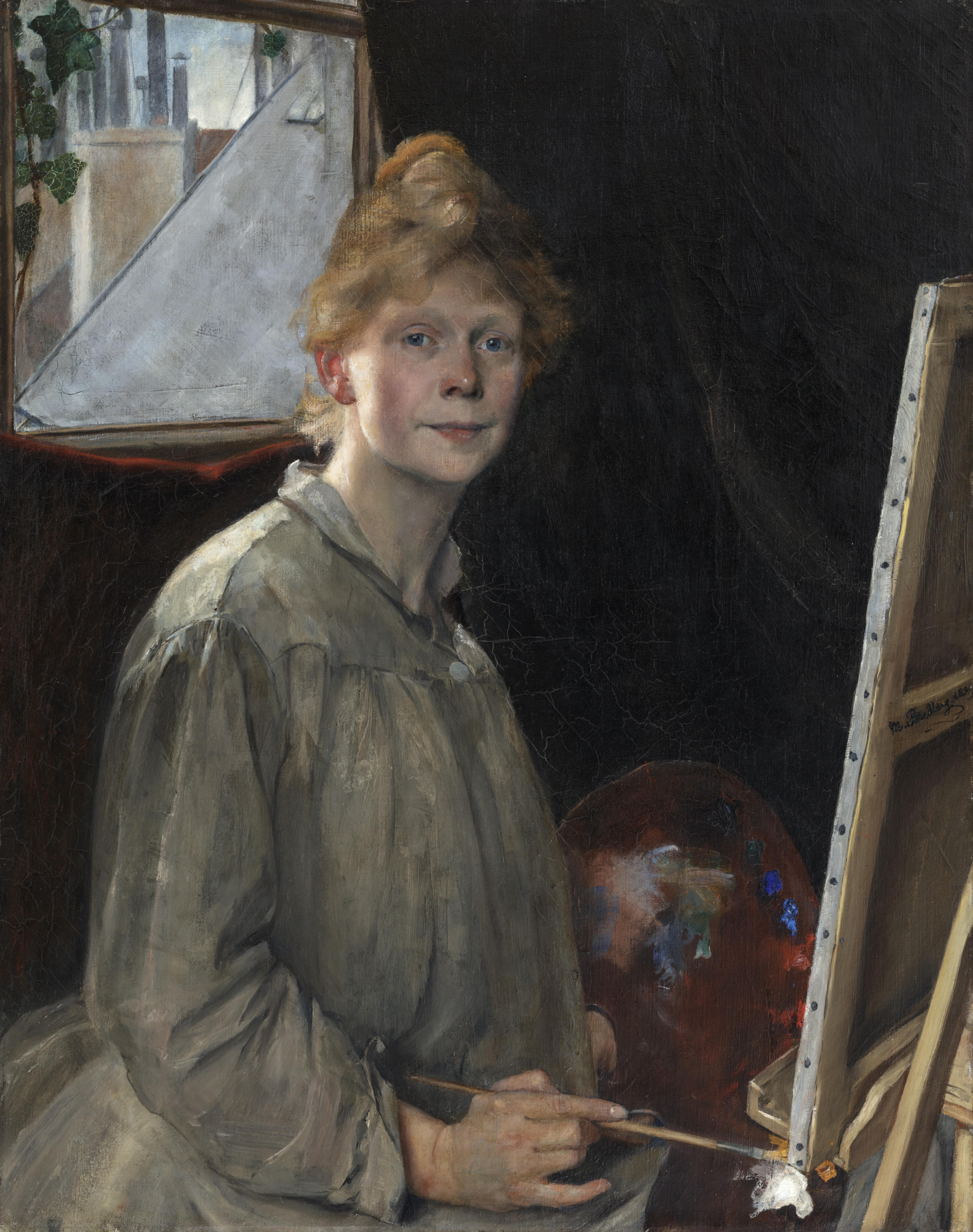 Mina Carlson-Bredberg. Självporträtt, 1889. Prins Eugens Waldemarsudde