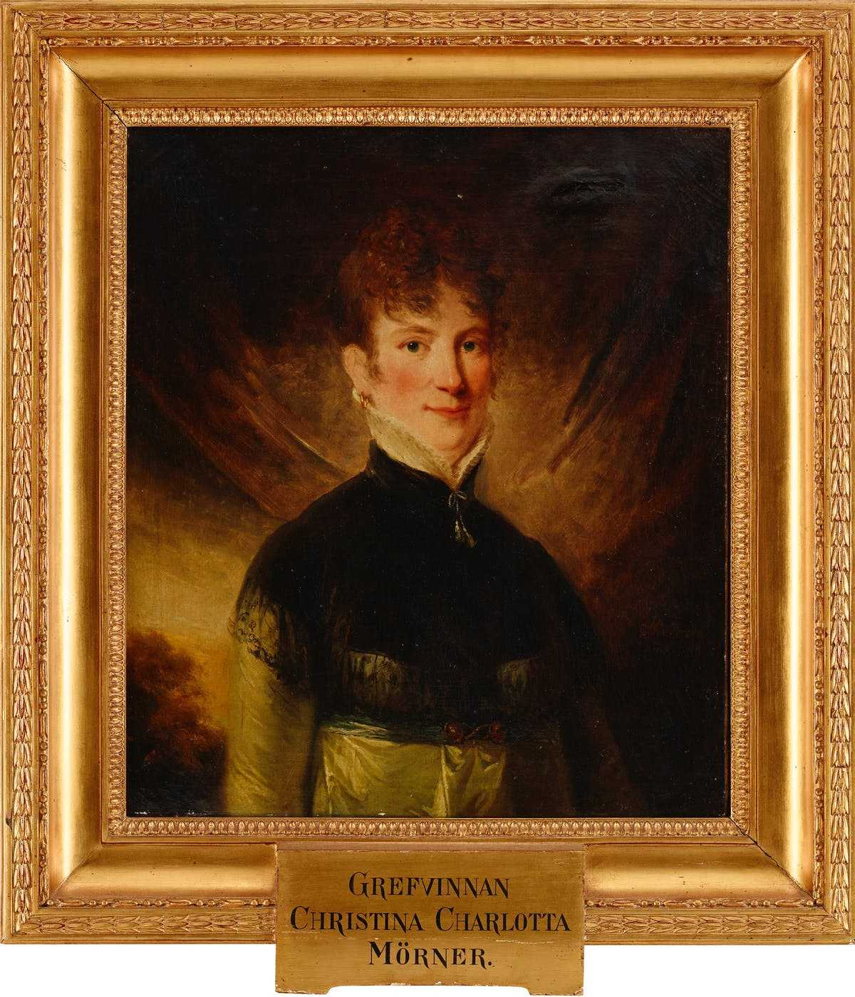 Charlotte Cederström (with birth name on plaque). Portrait by Carl Fredrik von Breda, 1804 (privately owned)