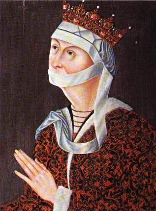 Portrait of Dorothy of Brandenburg, circa 1500. Artist unknown, detail of painting at Frederiksborg National History Museum, Denmark. Image source: Wikimedia.