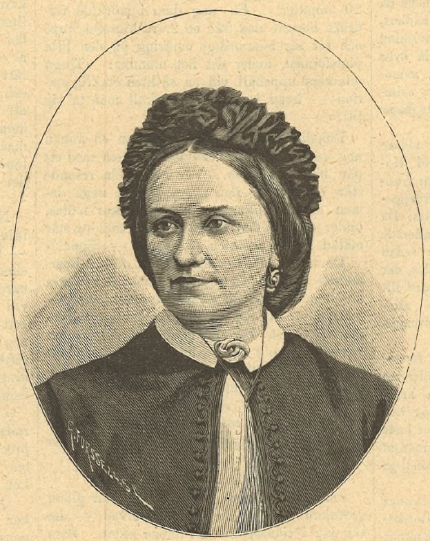 Nancy Edberg. Wood engraving in Idun nr 15, 1890. (KvinnSam, Gothenburg University Library)
