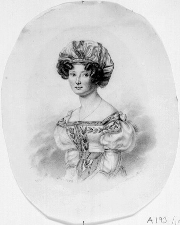 Portrait (charcoal pencil on paper) of Maria Charlotta Erikson, by Maria Röhl (1801-1875). Nationalmuseum (NMH A 193/1971)