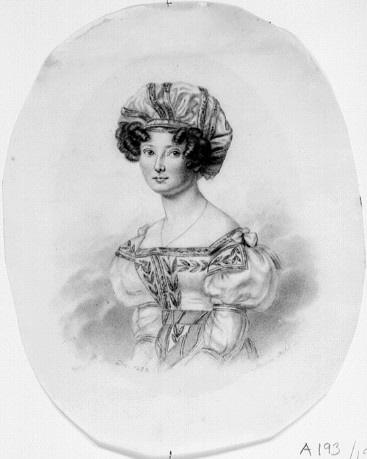 Porträtt (svartkrita på papper) föreställande Maria Charlotta Erikson, av Maria Röhl (1801-1875). Nationalmuseum (NMH A 193/1971)