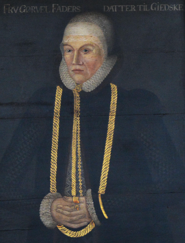 Görvel Fadersdotter. Porträtt i Lunds domkyrka, konstnär och år okänt (troligen Hans van Paschens verkstad, 1567), fotograf okänd