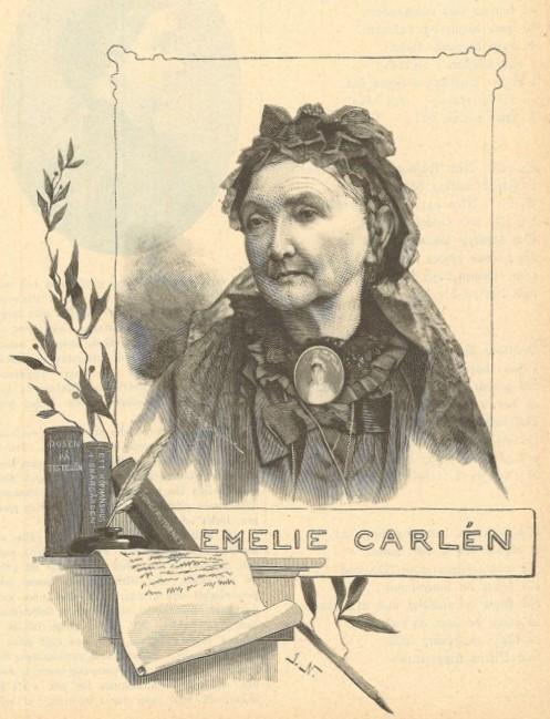Woodcut depicting Emilie Flygare-Carlén in Idun nr 7, 1892. Artist unknown (KvinnSam, Gothenburg University Library)