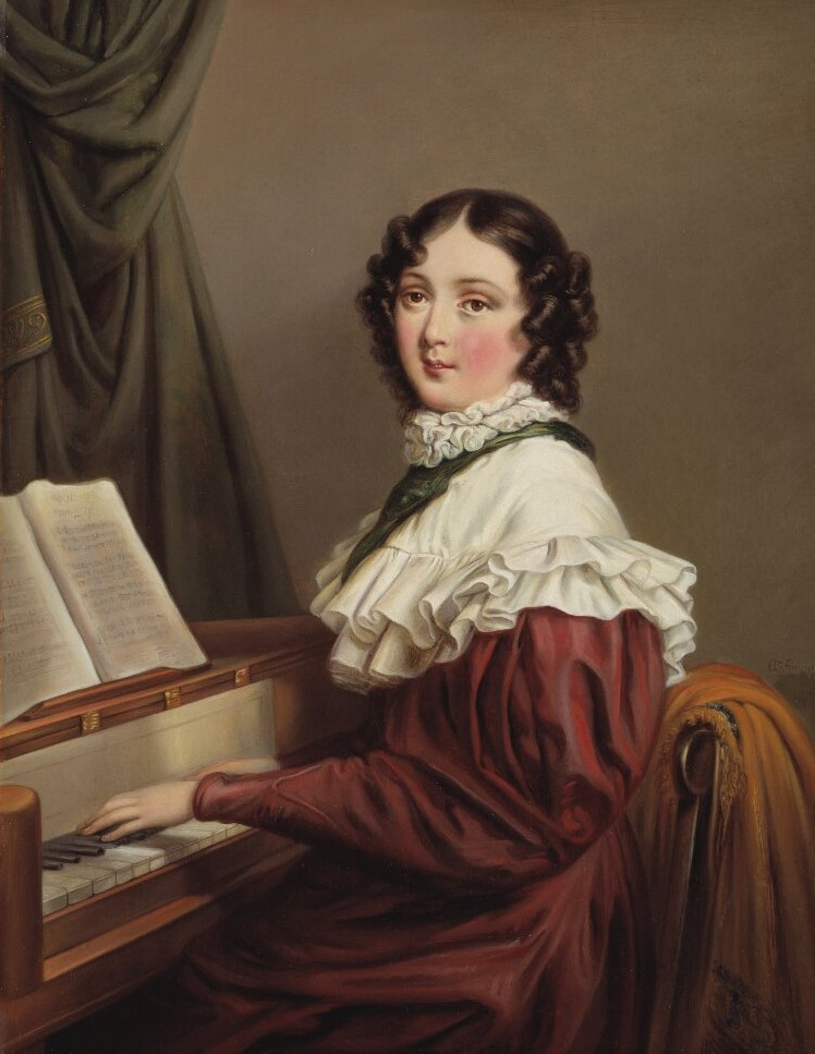 Mathilda Gyllenhaal (at the time Mathilda d'Orozco). Portrait (oil on canvas, year unknown) by Axel Johan Fägerplan (1788-1865). Nationalmuseum, NMGrh 3233