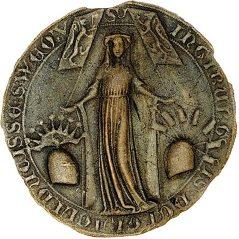 Ingeborg Håkansdotters sigill. Okänd mästare, 1300-talet. Bildkälla: Wikimedia Commons