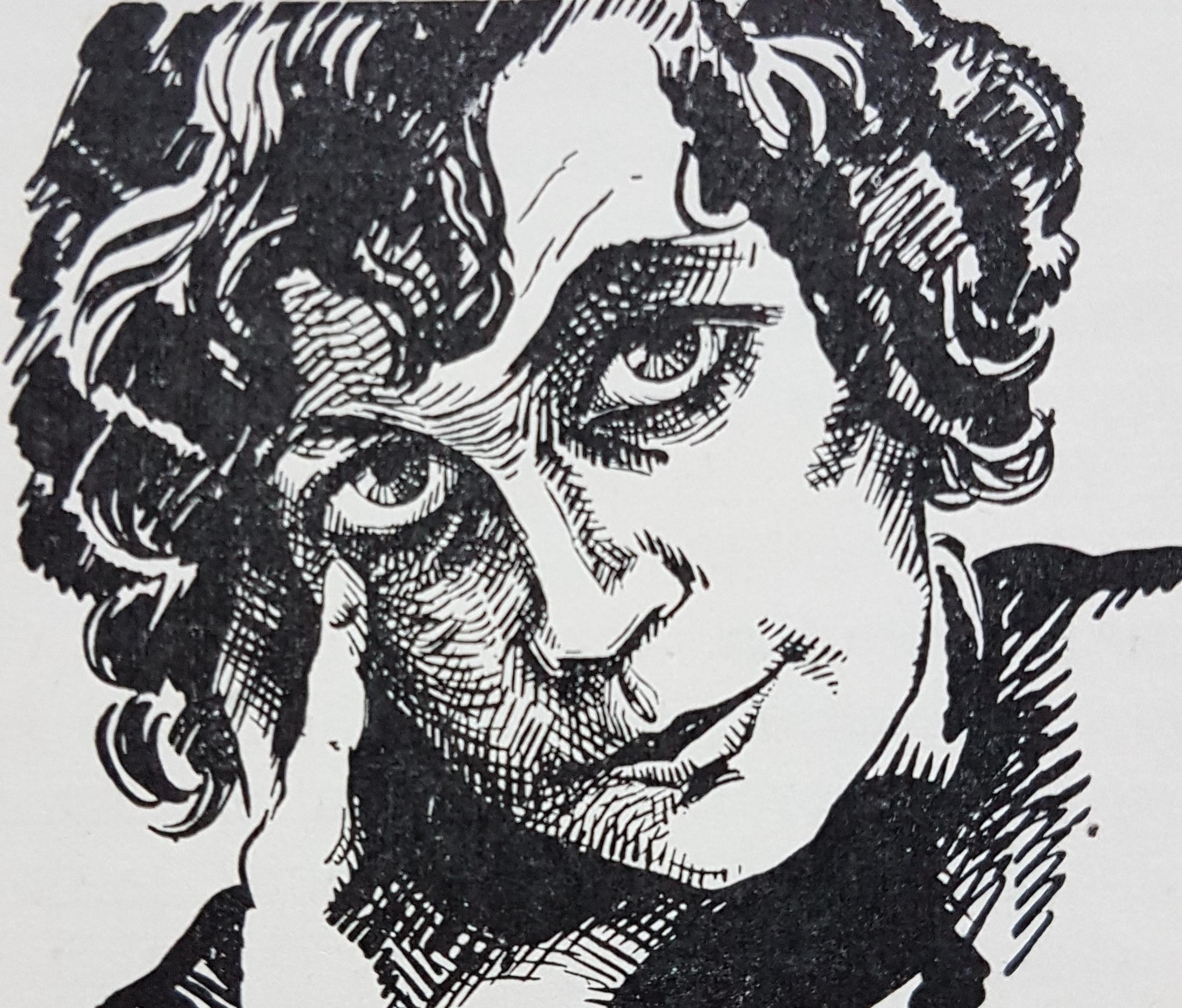 Elsa Hammar-Moeschlin, self-portrait in Roosval, Johnny et al (red), Svenskt konstnärslexikon, Allhem, Malmö, 1952-1967. Image source: Wikimedia Commons (Janee)