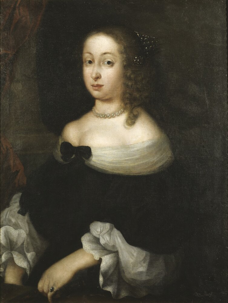 Drottning Hedvig Eleonora. Portrait (oil on canvas, year unknown) by Nicolas Vallari (?- after 1673). Nationalmuseum, NMGrh 1869