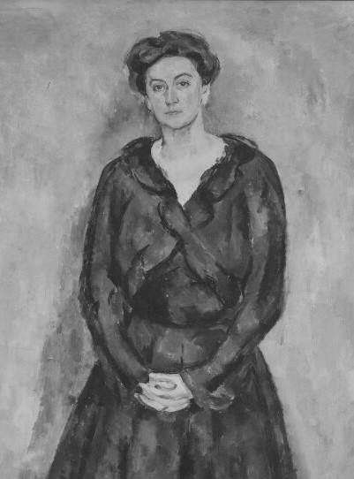 Portrait of Signe Hvistendahl by Birger Simonsson (1883-1938, oil on canvas, detail). Nationalmuseum, NMGrh 3476