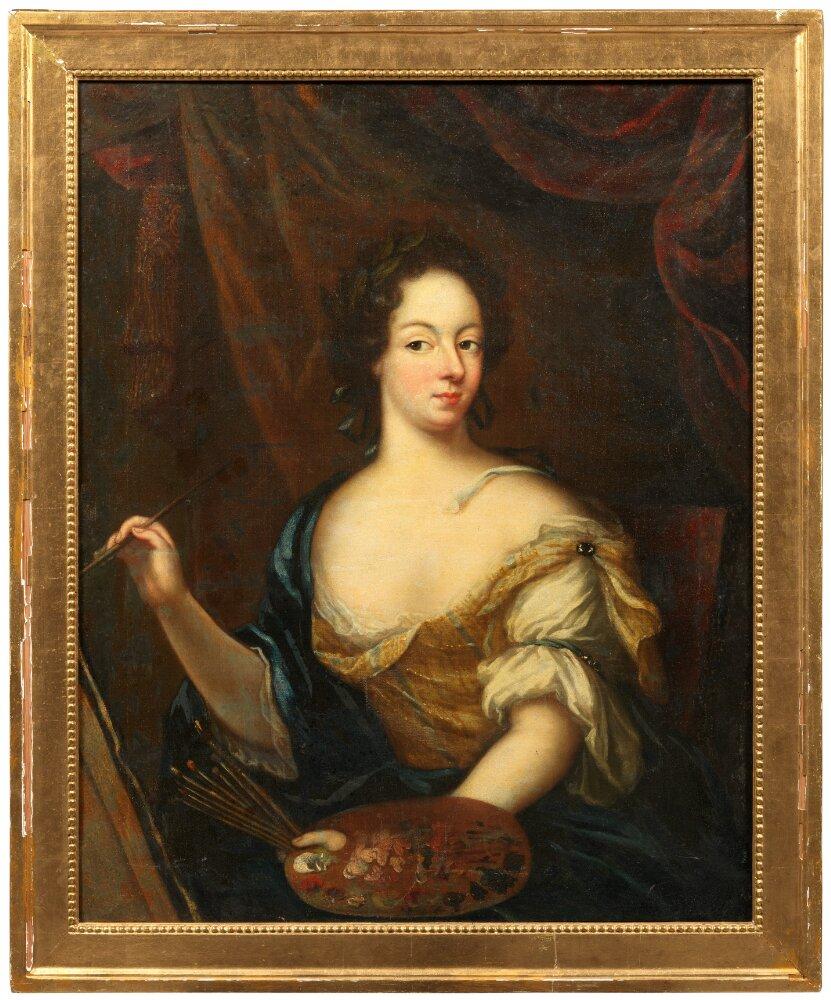 Amalia von Königsmarck, självporträtt (olja på duk), signerad 1687. Nationalmuseum (NMGrh 5120)