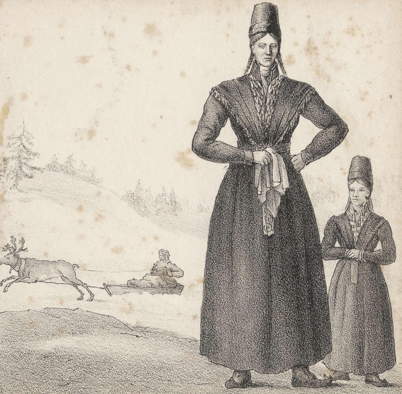 Christina Catharina Larsdotter depicted by unknown artist, print, 1839. Nordiska museet, NMA.0041106