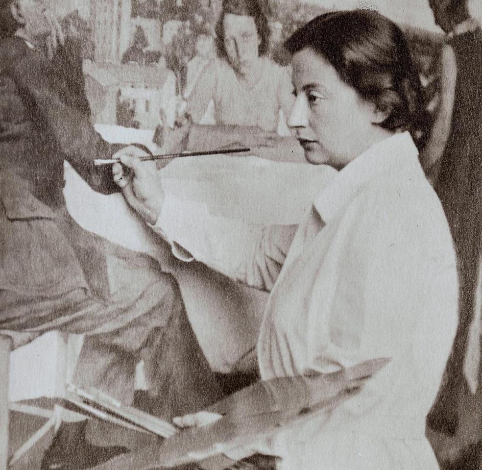 Lotte Laserstein working on her painting Abend über Potsdam, 1930. Photo: Wanda von Debschitz-Kunowski. Image source: Wikimedia Commons
