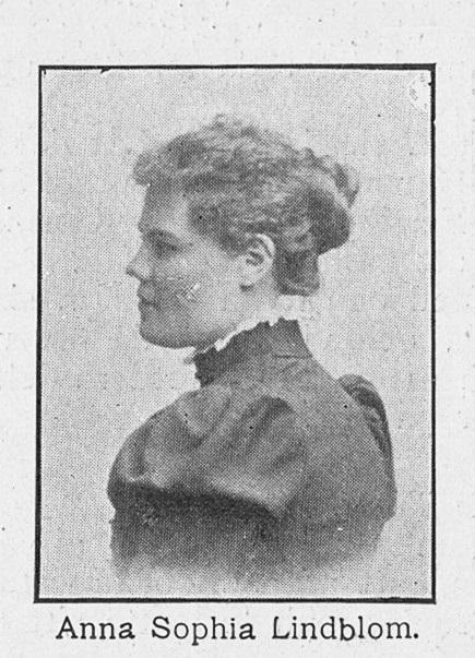 Anna Lindblom in the magazine Hvar 8 dag, nr 35, 1900. Photographer unknown. Image source: Svenskt Porträttarkiv (CC-BY-SA 4.0)