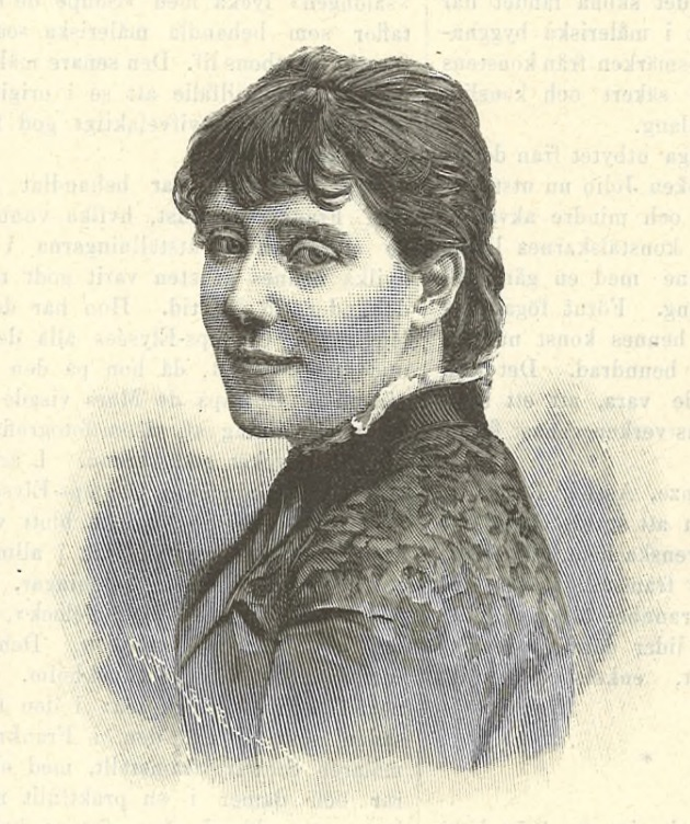 Emma Löwstädt-Chadwick depicted in Idun nr 50, 1892. Artist unknown (KvinnSam, Gothenburg University Library)