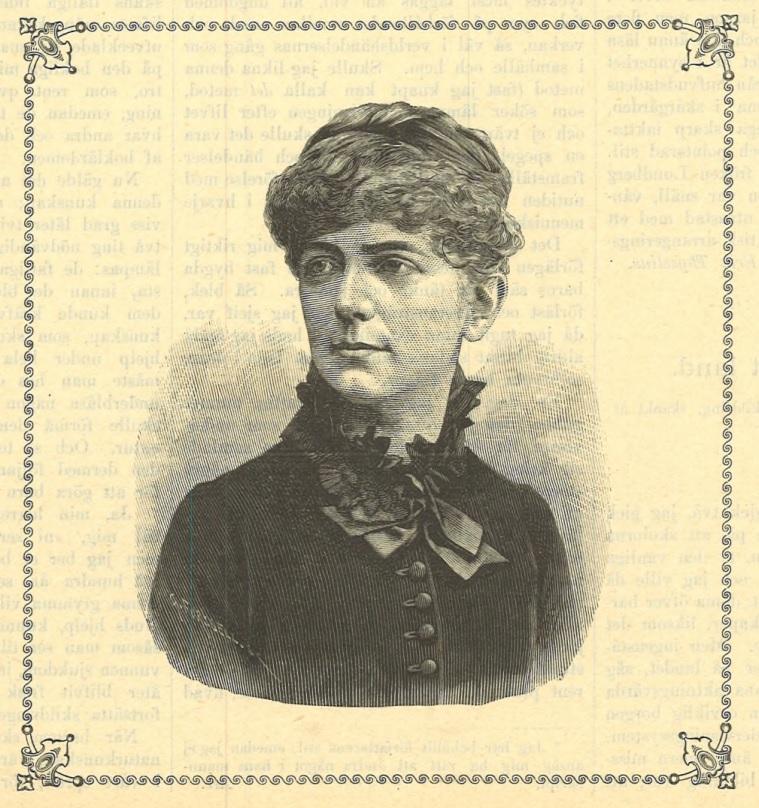 Emilie Lundberg in Idun nr 25, 1889. Artist unknown (KvinnSam, Gothenburg University Library)