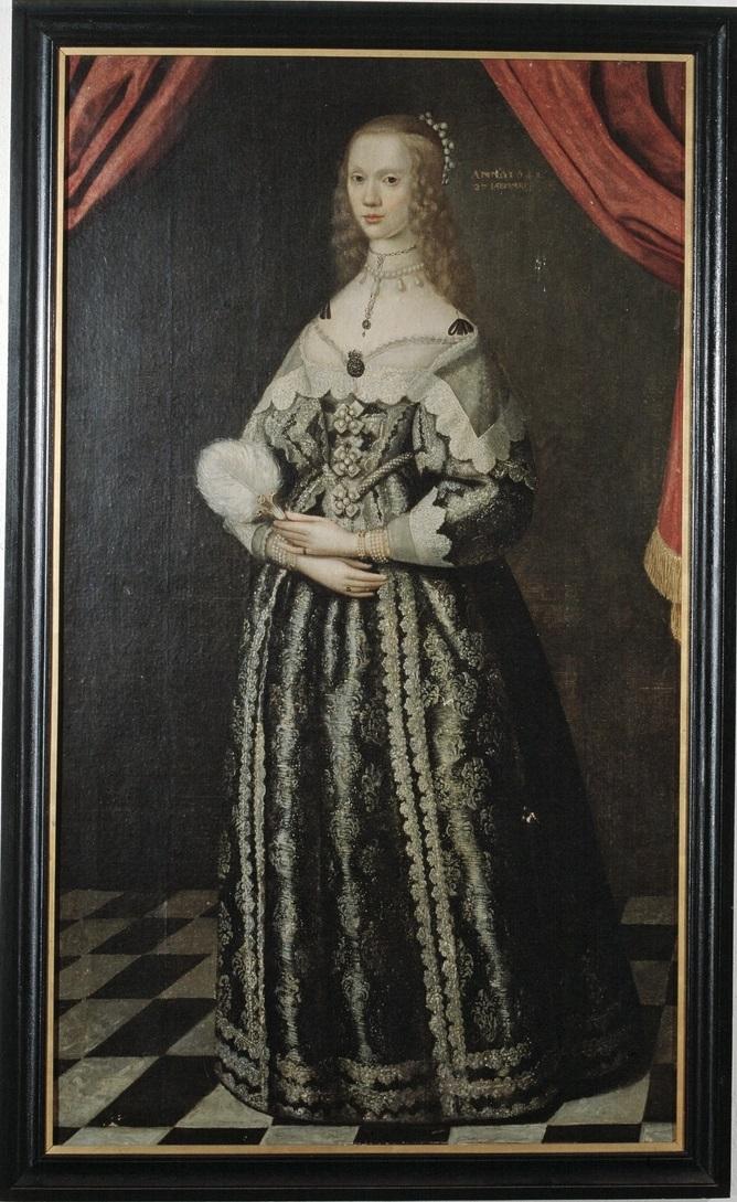 Maria Sofia De la Gardie, porträtt av Jakob Henrik Elbfas 1643 (Nordiska museet)