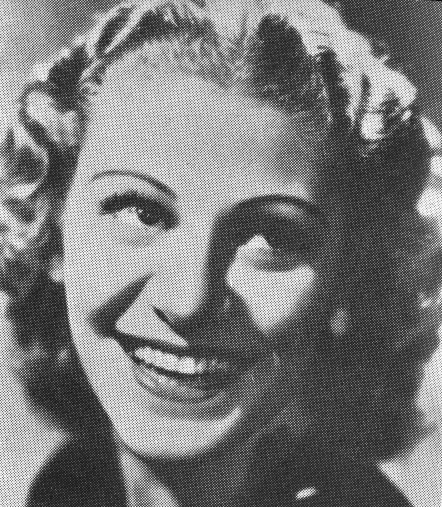 Diana Miller avbildad i Hellström, Nils (red), Jazz – historia, teknik, utövare; Estrad,  Stockholm 1940. Fotograf okänd (Wikimedia Commons)