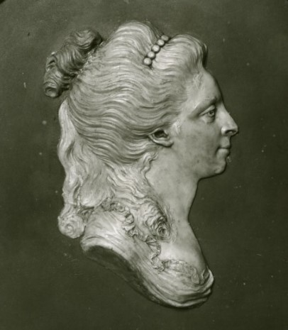 Portrait sculpture in wax of Carolina Müller, by Johan Tobias Sergel (1740-1814), year unknown. Nationalmuseum, NMSk 926