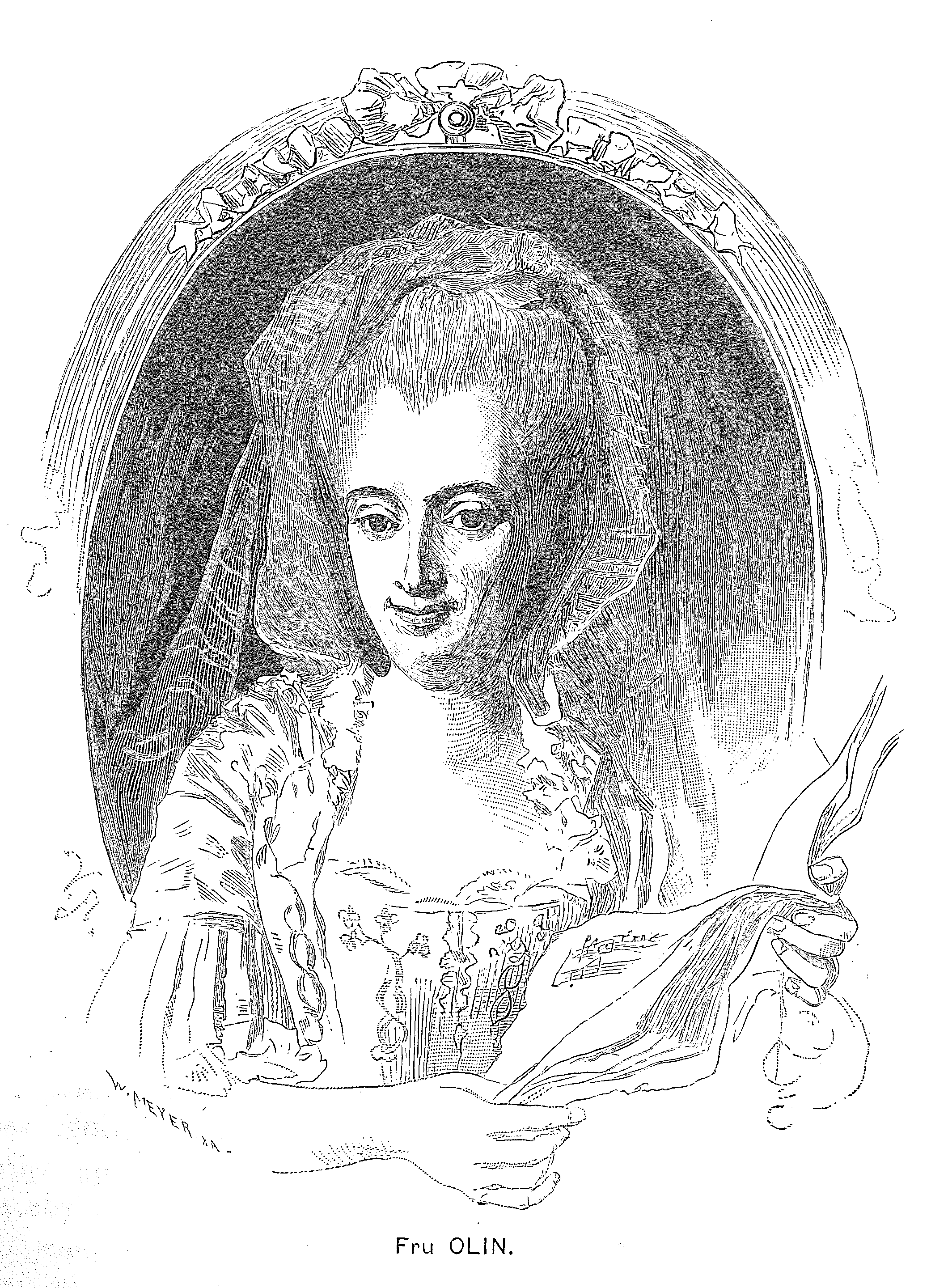 Elisabeth Olin. Engraving by Wilhelm Meyer after drawing by Vicke Andrén in Hedberg, Frans, Sevnska operasångare, Stockholm, 1885. Image source: Wikimedia Commons