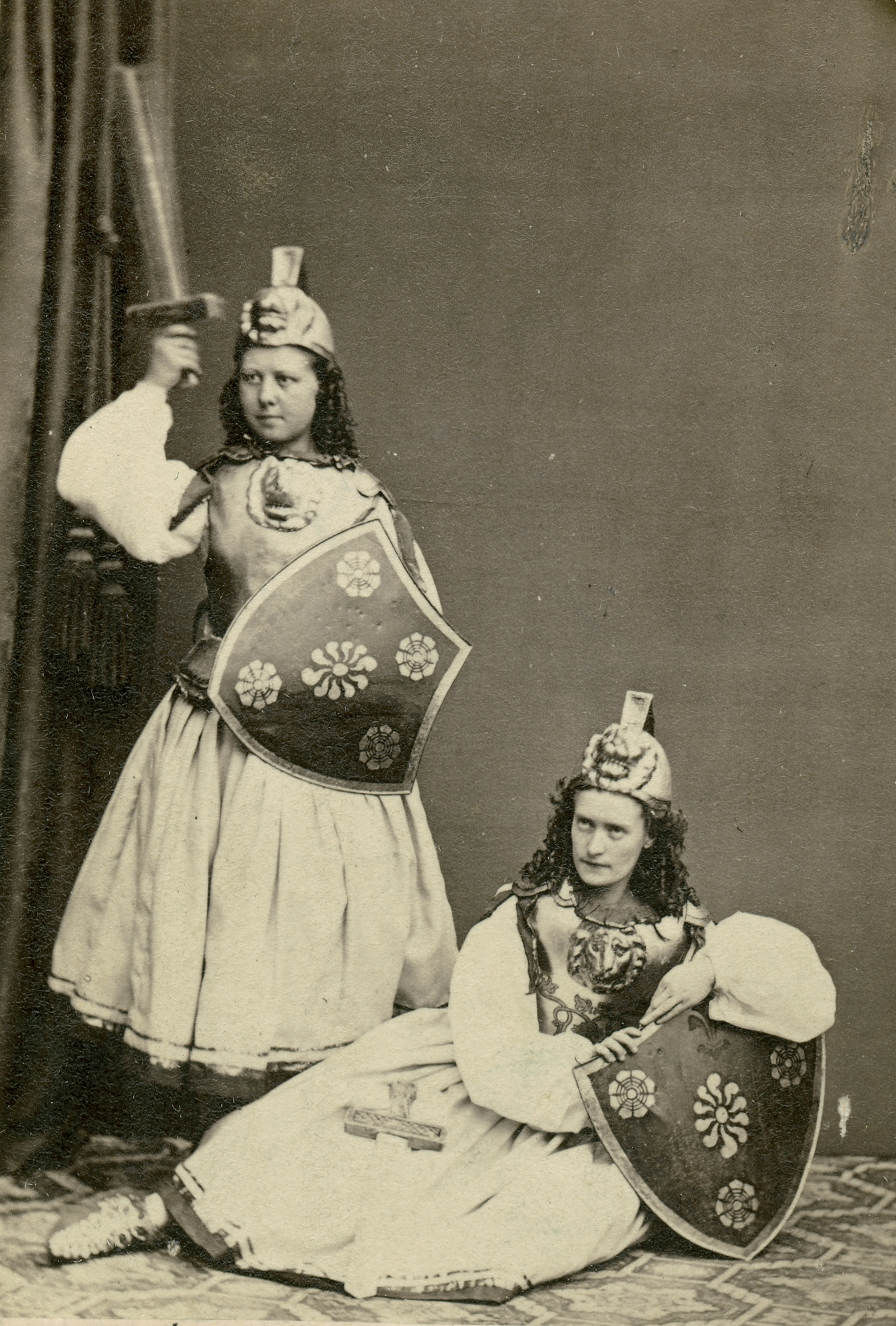 Jenny Hermansson (standing) and Jenny Roos in costume for unknown roles, 1863. Photo: W.A. Eurenius & P.L. Quist (Musik- och teaterbiblioteket, Stockholm)
