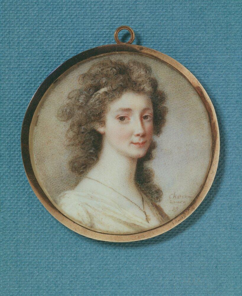 Sophie von Fersen. Gouache on ivory, mounted in a silver frame, portrait by Charles Joseph de La Celle chevalier de Chateaubourg (1758-1837). Nationalmuseum