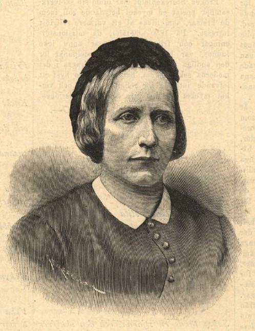 Aurore Storckenfeldt avbildad av okänd konstnär i Idun nr 18, 1893 (KvinnSam, Göteborgs universitetsbibliotek)