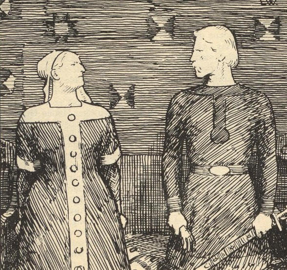 Sigrid Storråda and Olaf Tryggvason as imagined by Erik Werenskiold for the Norwegian translation of Heimskringla, 1899. Image source: Wikimedia Commons