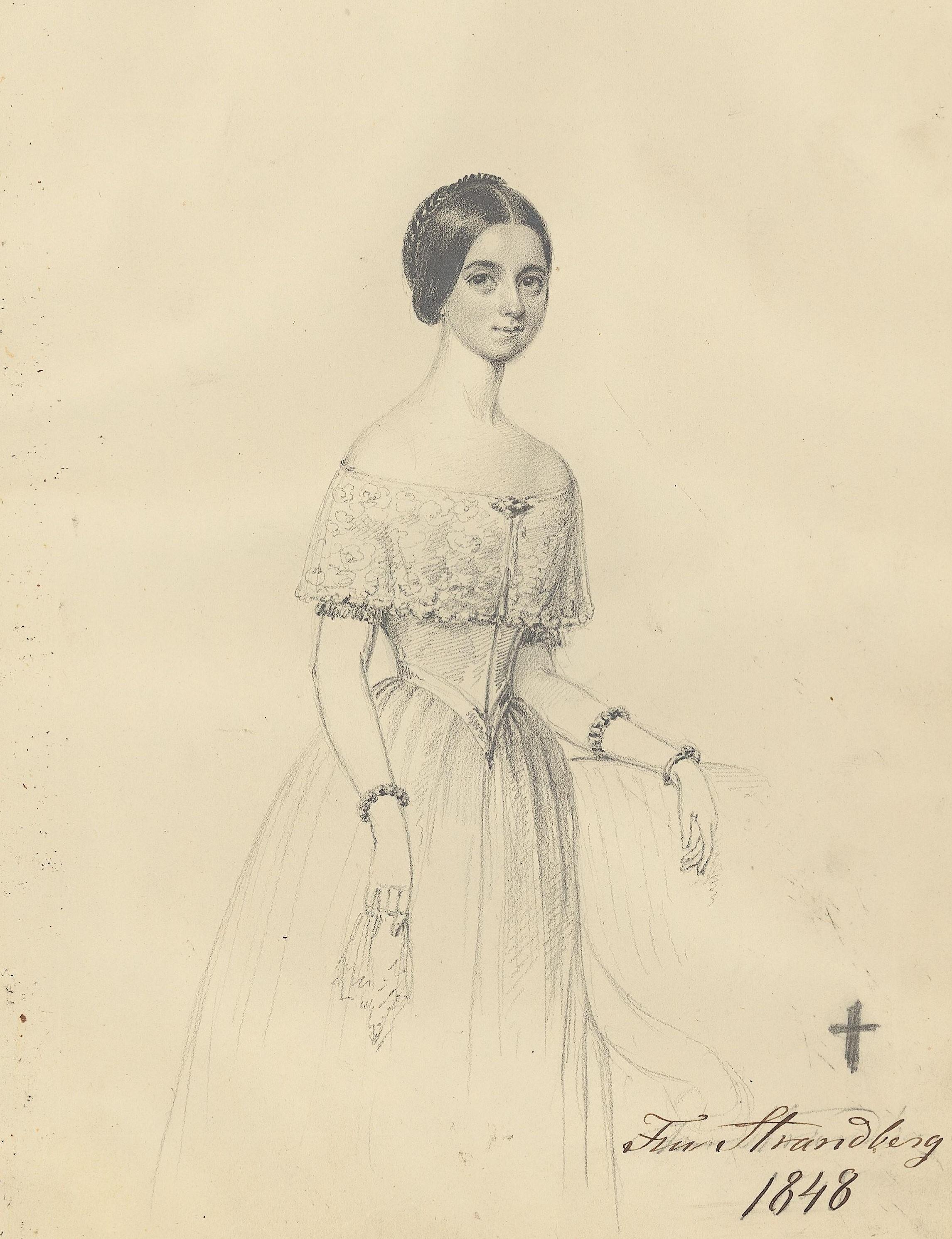 Aurora Strandberg, tecknad 1848 av Maria Röhl (1801-1875). Kungliga biblioteket