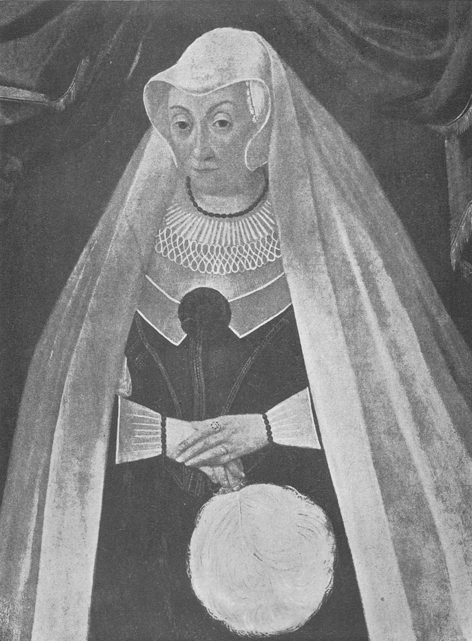Porträtt av Kristina Sture på Gripsholms slott. Okänd konstnär, 1600-talet. Bildkälla: Svenskt Porträttarkiv (CC-BY-NC-SA 4.0)