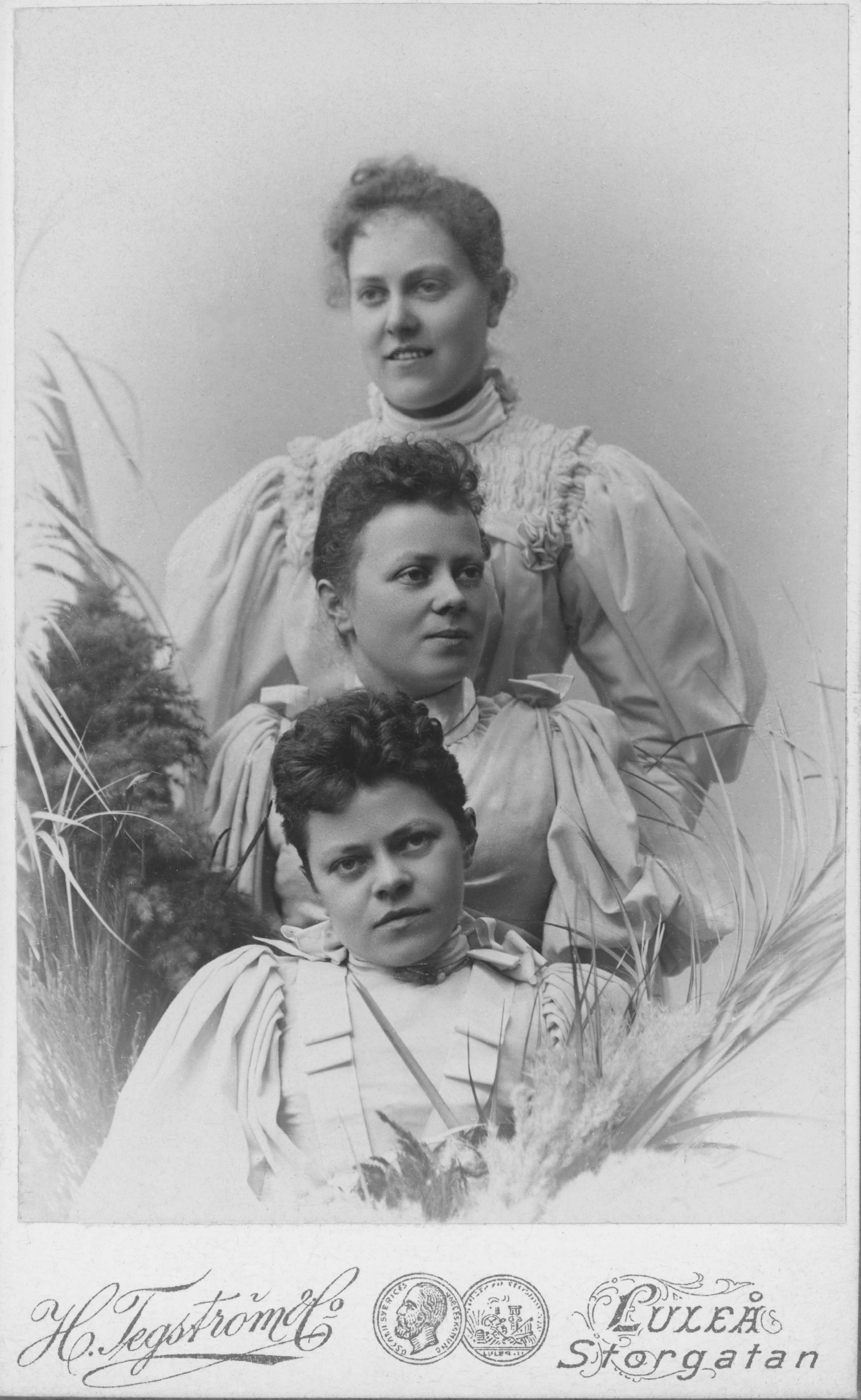 Tegström sisters, from top to bottom: Henny, Agda and Alma. Self-portrait, 1898 (Luleå kommuns stadsarkiv, 20100039000035)