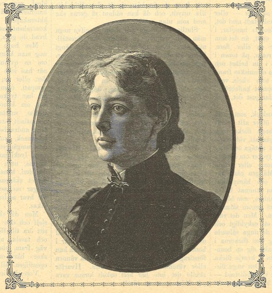 Anna Wahlenberg in Idun no. 28, 1889. Artist unknown. (KvinnSam, Göteborgs universitetsbibliotek)