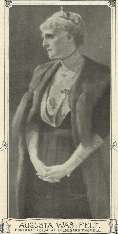 Portrait of Augusta Wästfelt by Hildegard Thorell (1850-1939) on the cover of Idun no 17, 1914 (Gothenburg University Library)