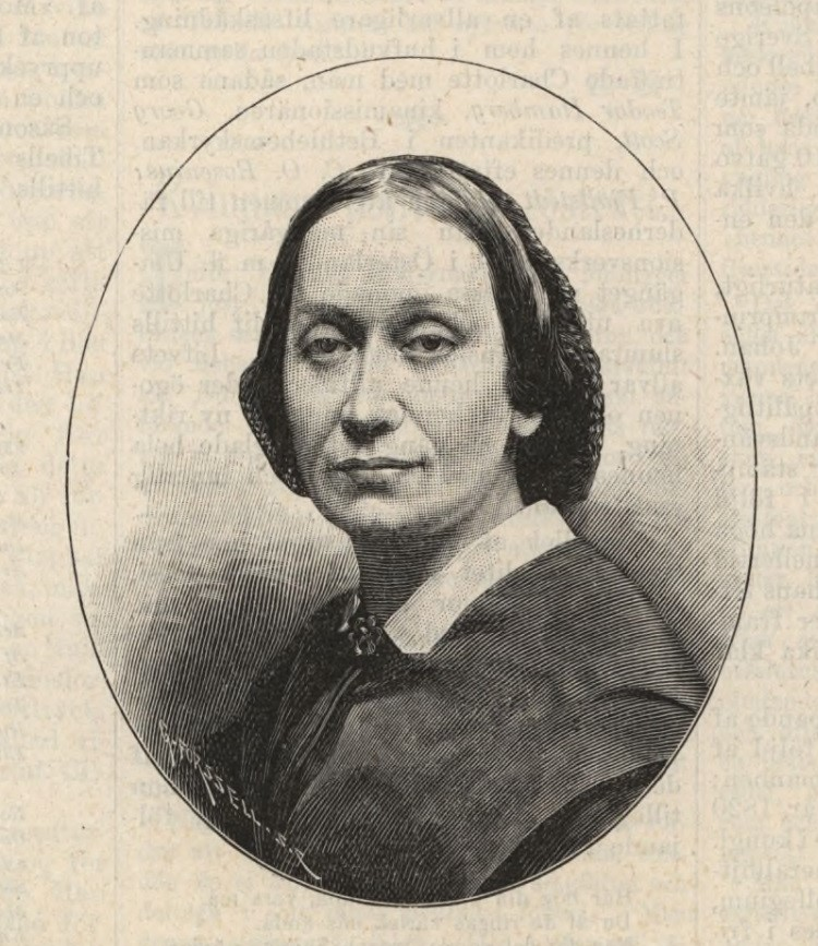 Charlotte af Tibell i Idun nr. 22, 1894. Xylografi av Gunnar Forssell (1859-1903). KvinnSam, Göteborgs universitetsbibliotek