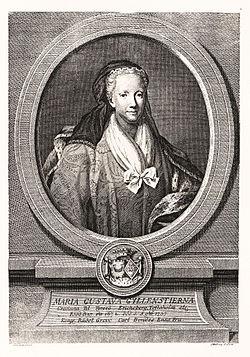 Maria Gustava Gyllenstierna. Kopparstick av Jacob Gillberg (1724-1793) i Wrangel, Fredrik Ulrik (red), Svenskt Pantheon, Stockholm, 1906