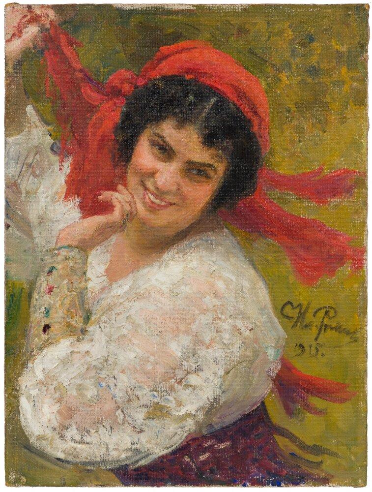 Porträtt (olja på duk) av Adelaide von Skilondz, cirka 1915-1925, av Ilja Repin (1844-1930). Foto: Anna Danielsson, Nationalmuseum (NMGrh 3921)